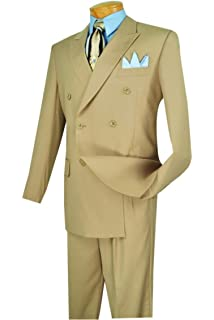 533cde950c3 VINCI Men s Premium Solid Double Breasted 6 Button Classic-Fit Suit ...