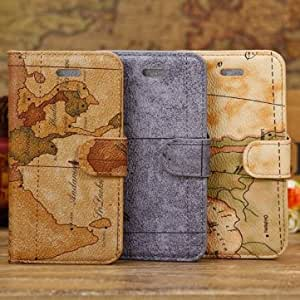 Fashion World Map Pattern Wallet Leather Case Cover For iPhone 5C --- Color:Brown