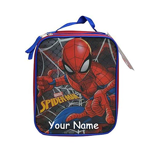 (Personalized Marvel Spider-Man Spiderman Web Slinger Insulated Rectangle Shape Lunchbox Lunch Bag with Zippered Compartment)