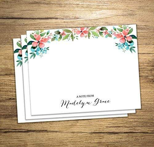 Blush Floral Stationary for Women Navy Floral Stationery Stationery Personalized Flat Note Cards Thank You Notes with Watercolor Flowers