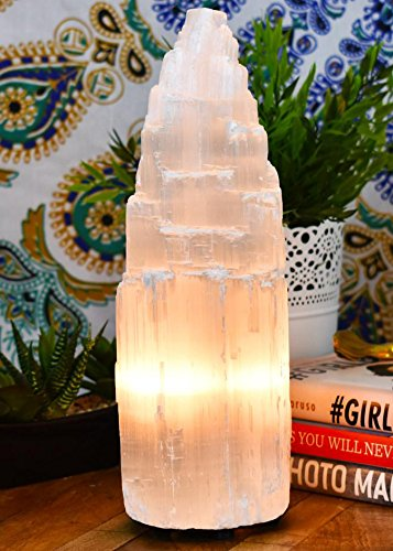 Selenite Lamp Large By Yellow Tree Company, Authentic Handmade Moroccan Selenite , More calming than Salt Lamps or Himalayan Salt Lamps, Amazing Selenite Crystal Lamp swl10
