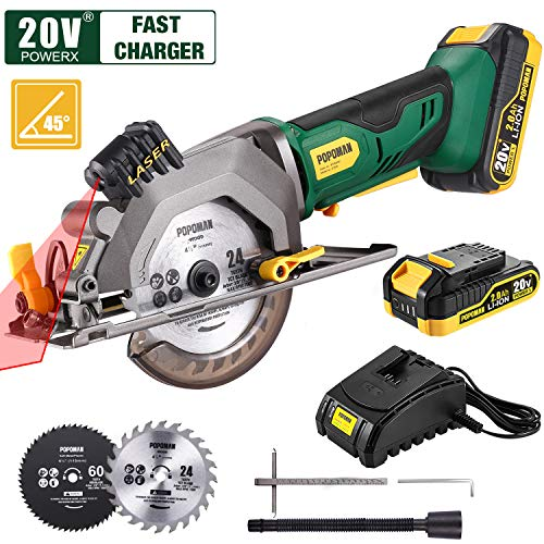 "POPOMAN Cordless Circular Saw, 4-1/2″ Saw with Laser Guide, 20V 2.0Ah Battery, 1H Charger, 9.5″ Base Plate, Max Cutting Depth 1-11/16"" (90°), 1-1/8"" (45°),  Wood, Plastic and Metal Cuts – MTW80B"