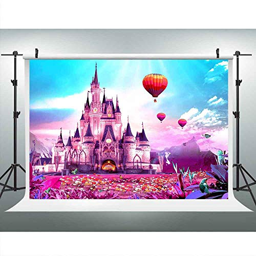 LUCKSTY Disneyland Castle Pink World Backdrops for Photography 9x6FT Blue Sky Flower Balloons Photo Backgrounds for Birthday Baby Shower Themed Party Props LUGE076 -