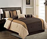 Oversized King Bed in a Bag Set 7 Pieces Oversize Chocolate Brown, Camel and Beige Quilted Linen Comforter Set / Bed-in-a-bag California KING Size Bedding