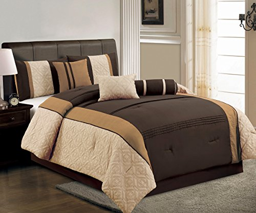 - 5 Pieces Oversize Chocolate Brown, Camel and Beige Quilted Linen Comforter Set / Bed-in-a-bag TWIN Size Bedding