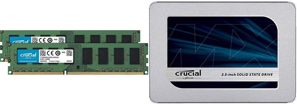 Crucial 16GB Kit (8GBx2) DDR3L 1600 MT/s (PC3L-12800) Unbuffered UDIMM Memory CT2K102464BD160B Bundle MX500 500GB 3D NAND SATA 2.5 Inch Internal SSD - CT500MX500SSD1