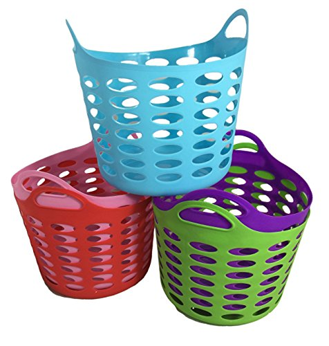 Storage Organizer Handle Basket, 5 Assorted Colors - Flexible Plastic Basket