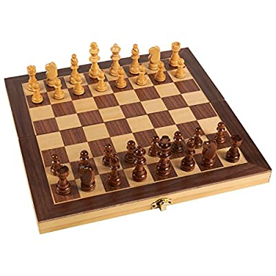 Wooden Chess Set - Wooden Chess Board and Game Pieces, Travel, Natural Wood, 11.4 x 1 x 11.6 Inches