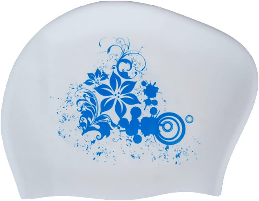 Blanco Isuper Gorro de Nataci/ón,Gorro de Piscina para Mujer Pelo Largo Silicona Impermeable Protecci/ón de Orejas Dise/ño para Mujer XL