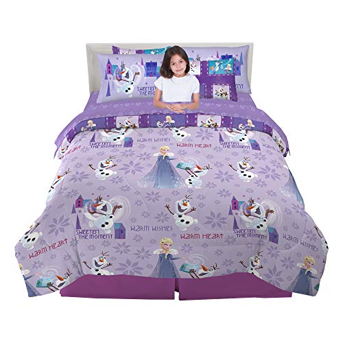 Franco Kids Bedding Super Soft Comforter and Sheet Set with Bonus Sham, 7 Piece Full Size, Disney Frozen