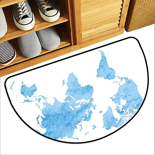 DILITECK Semicircular Door mat Map Blue Watercolor Style World Map Artistic Pastel Colored Display of Continents Anti-Fading W30 xL18 Light Blue White