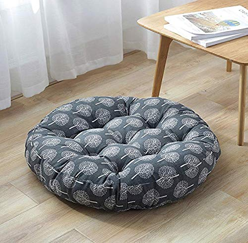 Beige Happy Tree Cotton Linen Round Floor Pillow Cushion Japanese Style Futon Seat Cushion Thicken Chair Wave Window Pad for Indoor Outdoor Garden Party Decoration 21 x 21,Set of 2