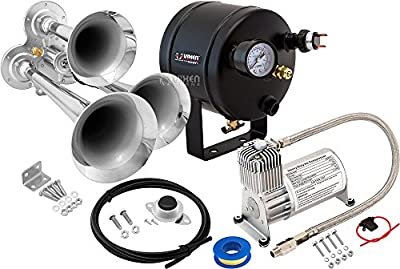 Vixen Horns Loud 152dB 3/Triple Chrome Trumpet Train Air Horn with 0.5 Gallon Tank and 150 PSI Compressor Full/Complete Onboard System/Kit VXO8705/3114B