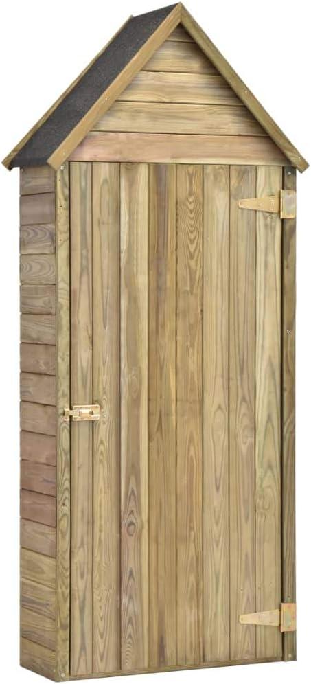 vidaXL Caseta Herramientas Jardín con Puerta Madera Pino 77x37x178cm Cobertizo Organizadador Eficiente Almacenamiento Resistente a la Putrefacción: Amazon.es: Bricolaje y herramientas