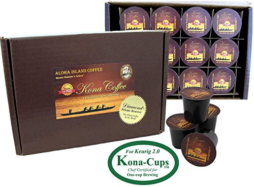 Exclusively for Keurig Model 2.0, K-cup Brewing Systems, 100% Pure Kona Coffee Kona-One-Cups, Box of 12 single-serve cups for Keurig 2.0 brewing systems