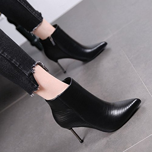 MDRW-Martin Pointed Boots Female Winter Stilettos New Boots And Boots All-Match Velvet Ankle Boots Thirty-Nine Black High Heels by Olici
