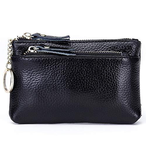 QXU-DIMDIM Women's Mini Coin Purse Ladies Leather Zipper New Multi-Function Lychee Pattern Small Wallet Key Coin Bag (Color : Black)