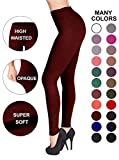 SATINA High Waisted Leggings – 22 Colors – Super Soft Full Length Opaque Slim (One Size, Burgundy)