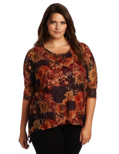 Karen Kane Women's Plus-Size Lace Mesh Tunic Top, Print, 1X ()