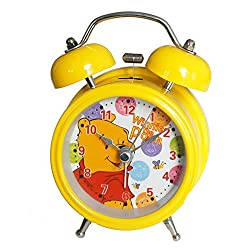 6025B Extremely Silent Children Cartoon Metal Twin Bell Alarm Clock 3 (Winnie The Pooh - Yellow)