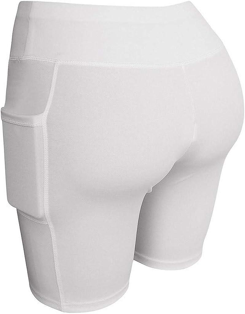 Cobcob Womens Yoga Shorts,Ladies Fitness Pocket Yoga Pant Trouser Pant High Waist Training Running Shorts