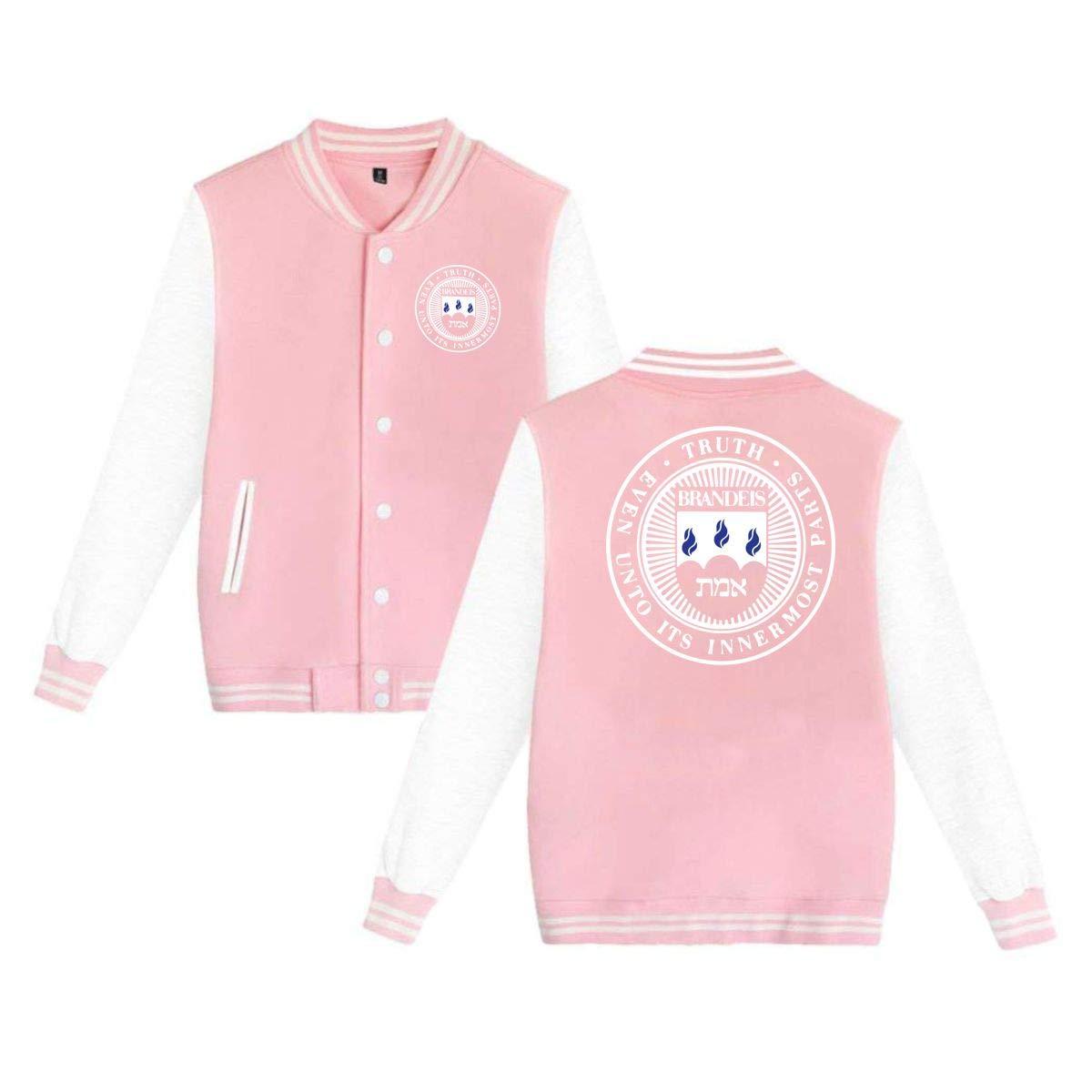 QTHOO Unisex Brandeis University Long Sleeve Velvet Warm Casual Baseball Uniform Jacket Button Sport Coat