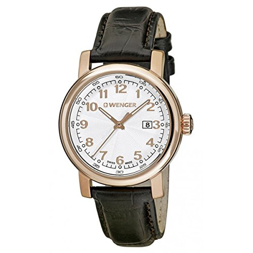 Wenger 01.1021.114 Women's Urban Classic White Dial Rose Gold Steel Black Leather Strap Watch
