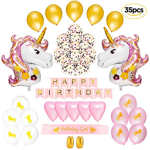 35 Pack Complete Unicorn Theme Party Supplies, Decorations - Perfect For Birthday Girls, Baby Shower | Big Magical Unicorn Balloons, Heads, Rose Gold Confetti & Heart Balloons | Pink Glittery -