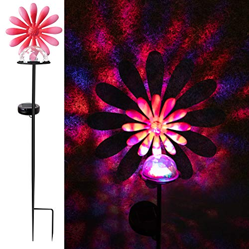 pearlstar Solar Garden Light Outdoor Decorative Stake Lights with Led Crackle Ball for Yard Pathway Driveway Lawn Fence Flowerbed Night Lamp (Flower)