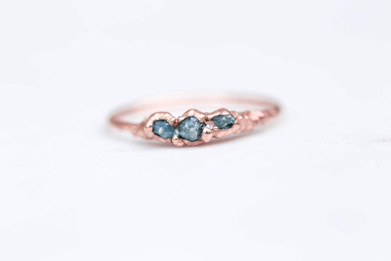 Rose gold filled rough diamond ring