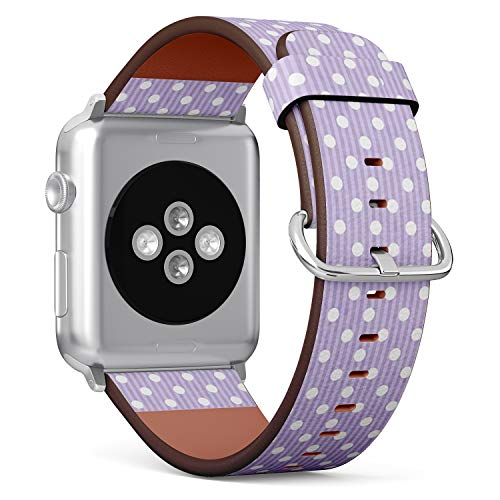 Compatible with Apple Watch (Small 38mm/40mm) Series 1,2,3,4 - Leather Band Bracelet Strap Wristband Replacement - Purple White Polka Dot Fabric