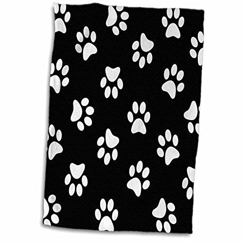3dRose Black and White Paw Print Pattern-Pawprints-Cute Cart