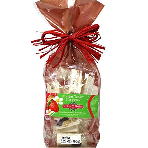 Soft White Nougat Candy with Strawberries, Almonds and Lavender Honey | Handcrafted in France by Les Trois Abeilles | All Natural | 150 Grams (5.29 Ounce) Bag (Lavender Provence Honey)