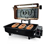 Nutrichef Electric Fish Grill Indoor Cooking - Small Outdoor Backyard BBQ For Fish Steak Meat Skewer & Seafoods - High Griddle Heat Searing Removable Countertop & Washable Cover Cook Tray Red (PKFG16)