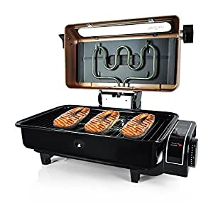 NutriChef Electric Fish Grill  roaster oven Grilling Indoor and Outdoor Tabletop Use For Fish Meat Chicken , With Removable and Dishwasher Safe Griddle, Gold (PKFG16)