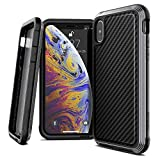 iPhone X Case, X-Doria Defense Lux Series - Military Grade Drop Tested, Anodized Aluminum, TPU, and Polycarbonate Case for Apple iPhone X, [Black Carbon Fiber]