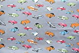 Vintage Car Printed Grey Colour 100% Cotton Fabric **FREE UK POST** Kids Children Nursery Early Learning Fun Craft Vintage Cars Boys Fabric Zoom Bunting Bed Sheet Cover Quilting Material Patchwork (Fat Quarter (48cm x 55cm))