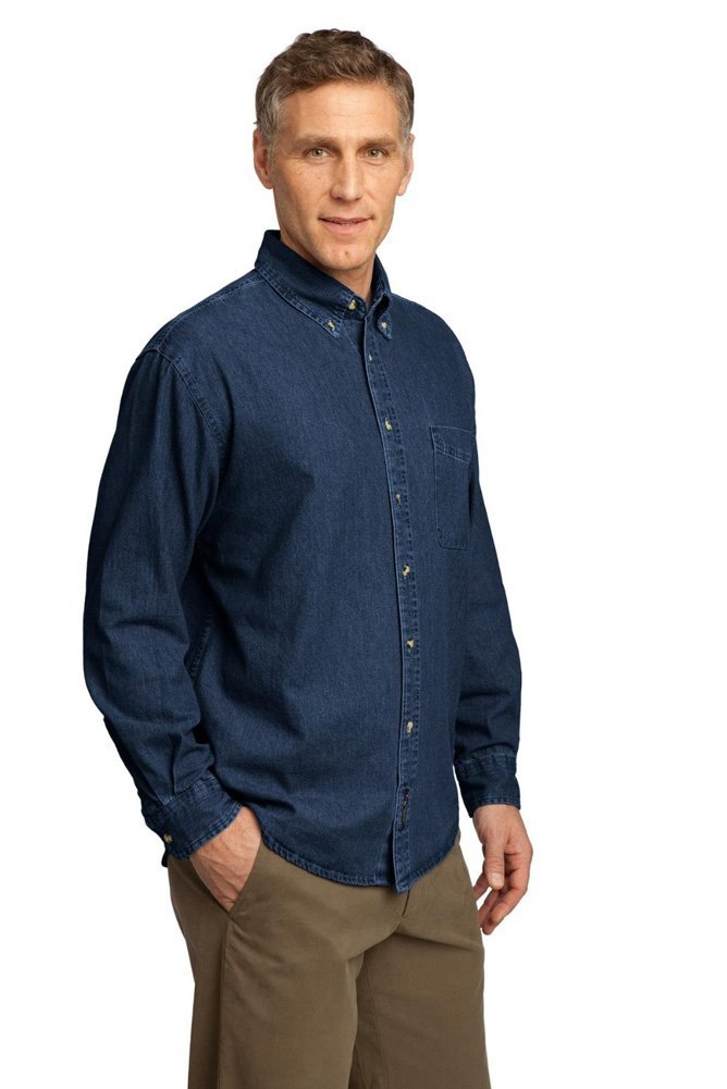Port & Company Long Sleeve Denim Shirt, Ink Blue M