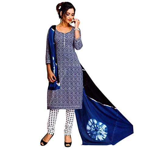 Ready-To-Wear-Designer-Blue-Printed-Cotton-Salwar-Kameez-Suit-India