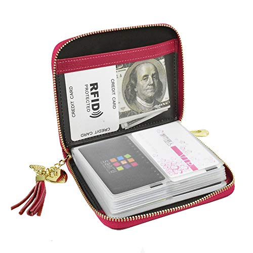 (Lacheln RFID Blocking Credit Card Organizer Wallet Genuine Leather Zipper Security Travel Money Holder for Women,40 Card Slots,Rose Red)