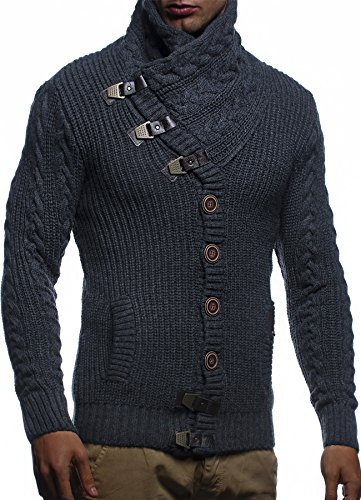 Leif Nelson Men's Knit Cardigan With Turtle Neck LN7080; Size XXL, ECRU