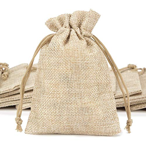 ANPHSIN 50 Pieces Small Burlap Bags with Drawstring, 5.43x3.74 inch Burlap Gift Bag Jewelry Pouches for Wedding Favors, Party, DIY Craft and -
