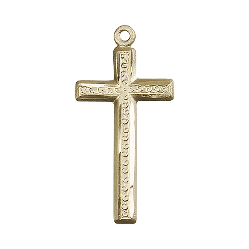 Includes deluxe flip-top gift box 14kt Gold Cross Medal Medal//Pendant measures 1 1//8 x 1//2