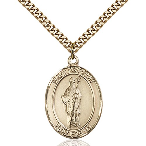 Gold Chain No Medal 14kt - Bonyak Jewelry Custom Engraved Gold Filled St. Gregory The Great Pendant 1 x 3/4 inches with Heavy Curb Chain