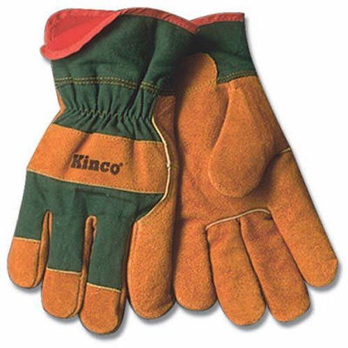 (KINCO 1721GR-XL Men's Lined Leather Palm Gloves, Suede Cowhide, Green Fabric Back, X-Large, Russet)