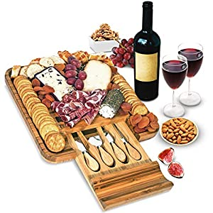 Bamboo Cheese Board and Knife Set – Wood Charcuterie Board Set – Serving Meat & Cheese Board with Slide-Out Drawer for Cutlery – 4 Stainless Steel Knives and Server