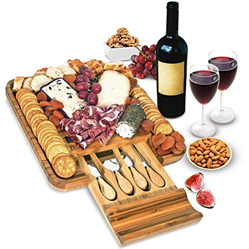 Bamboo Cheese Board and Knife Set, Wood Charcuterie Platter and Serving Meat & Cheese Board with Slide-Out Drawer for Cutlery, 4 Stainless Steel Knives and Server Set (Platters Sale Christmas)