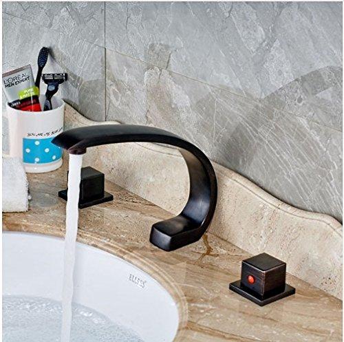 Gowe Creative Design Deck Mounted Oil Rubbed Bronze Basin Faucet Bathroom Vessel Sink Tap Swan Spout MIxer Tap ()