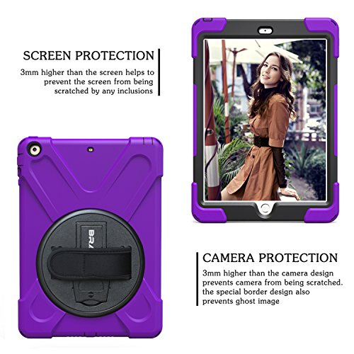 iPad Air Case,BRAECN [Hybrid Shockproof Case] Rugged Triple-Layer Shock-Resistant Drop Proof Defender Case Cover with Kickstand / a Hand Strap / a Adjustable Shoulder Strap