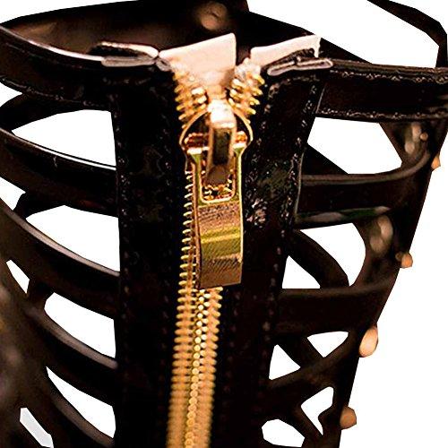 Highdas 2016 Mode Female Kind Sandalen Prinzessin Schuhe High Schuhe Cutout Gladiator Baby Boots Schwarz